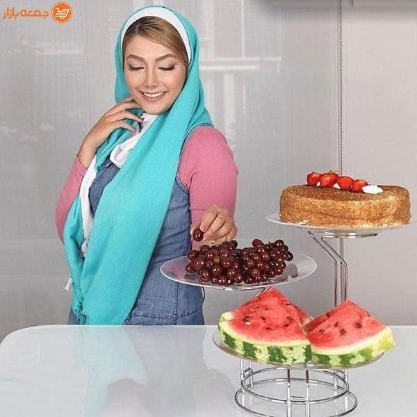 دیس پایه دار میوه و شیرینی