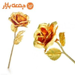 گل رز طلا با جعبه طلایی