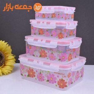 ظرف 4 تکه گلدار