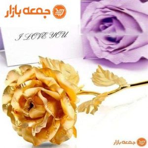 گل رز طلا با استند لاو