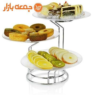 دیس پایه دار میوه و شیرینی سه طبقه