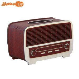 جعبه دستمال کاغذی چوبی مدل رادیو قدیمی