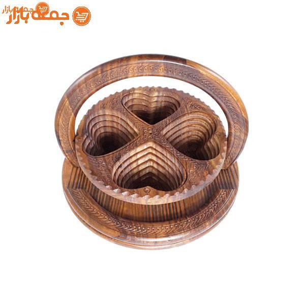 ظرف پذیرایی چوبی مدل قلب 4 خانه