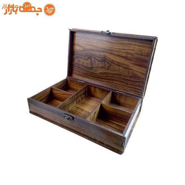 جعبه تی بگ چوبی 5 خانه