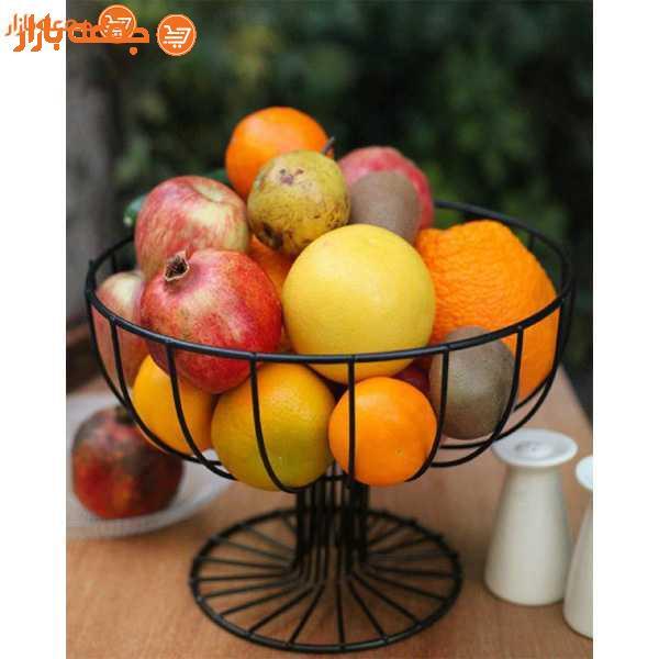 سبد میوه فلزی گرد پایه دار