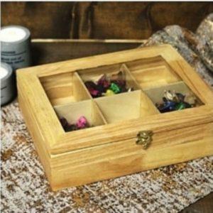 جعبه تی بگ چوبی 6 خانه